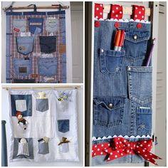 jeans pocket organizer F Wonderful DIY Hanging Jeans Pocket Organizer Diy Jeans, Recycled Denim Crafts, Pocket Organizer, Bedside Organizer, Hanging Organizer, Hanging Storage, Jean Crafts, Techniques Couture, Denim Ideas