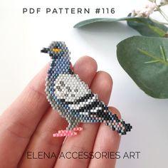 Pigeon bird brooch PDF pattern for miyuki delika brick stitch Beaded Earrings Patterns, Seed Bead Patterns, Peyote Patterns, Weaving Patterns, Mosaic Patterns, Bead Earrings, Knitting Patterns, Bird Patterns, Bead Jewelry