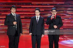 Gianluca Ginoble, Piero Barone and Ignazio Boschetto attend the Miss Italia Nel Mondo 2009 during the final of the beauty contest on June 27, 2009 in Jesolo, Italy.