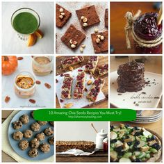 You have to try these 10 amazing chia seeds recipes from some of my favorite bloggers! Blueberry vanilla chia seed jam, pumpkin pie overnight oats, orange avocado chia smoothie, no-bake oatmeal chia chocolate chip cookie balls, grain-free pizza crust, cranberry chia energy bars, chai brownies, homemade chocolate chia protein powder, raspberry date jam and more!