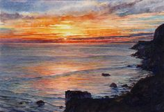 CLASSIC SUNSET watercolor by Thomas A Needham
