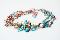 Keishi Pearl Design in Rusty Brown and Turquoise Blue - Copper Three Strand Necklace