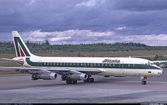 "Alitalia Douglas DC-8-43 I-DIWR ""Nicoloso da Recco"" at Stockholm-Arlanda, September 1973. (Photo: Lars Söderström)"