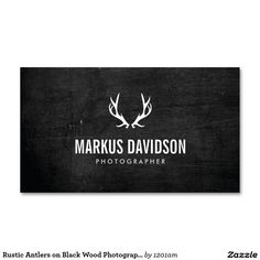 Rustic Antlers on Black Wood Customizable Business Cards for Photographers