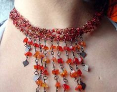 Red crocheted choker with glass chips