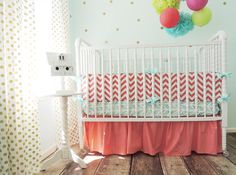 Amazon.com : Tushies and Tantrums Boutique Crib Set, Aqua and Coral : Baby