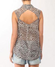 Leopard Print Open Back Shirt - F21