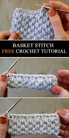 Basket Stitch - Free Crochet Tutorial - Design Peak knitting for beginners knitting ideas Free Knitting PatternIt's. Crochet Stitches For Blankets, Crochet Stitches Patterns, Crochet Designs, Knitting Patterns, Knitting Ideas, Unique Crochet Stitches, Free Crochet Blanket Patterns, Knitting Squares, Different Crochet Stitches