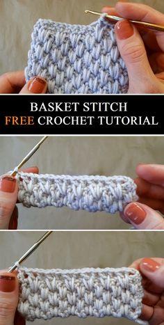 Basket Stitch - Free Crochet Tutorial - Design Peak knitting for beginners knitting ideas Free Knitting PatternIt's. Crochet Stitches Patterns, Crochet Designs, Knitting Patterns, Knitting Ideas, Free Crochet Blanket Patterns, Crochet Stitches For Blankets, Different Crochet Stitches, Tunisian Crochet Stitches, Crotchet Patterns