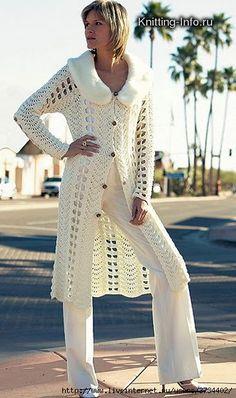 Or Crochet: Le cardigan! Crochet Coat, Crochet Jacket, Crochet Cardigan, Crochet Shawl, Crochet Clothes, Sweater Coats, Sweaters, Moda Crochet, Jacket Pattern