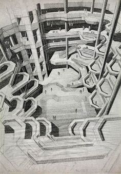 Perspective looking down into the courtyard/Concourse Tower/Singapore/Paul Rudolph/1994