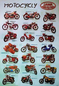 Antique Motorcycles, Cars And Motorcycles, Moped Scooter, Vespa, Moto Jawa, Jawa 350, History Posters, Cafe Racing, Motorcycle Posters