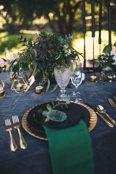 Dark Moody Black Green Gold Table Decor Agate Placecards Geometric Candle | Edgy Emerald City Wedding Ideas http://www.yvonnegollphotography.com/ #WeddingIdeasGreen