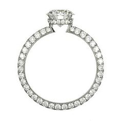 A round diamond is surrounded by smaller round diamonds in the setting and includes a diamond band from Harry Winston.
