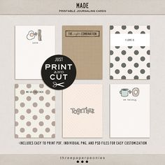 Project Life printable cards, CUTE CUTE