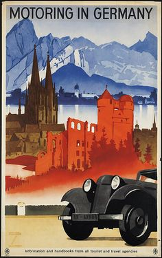 """1935 - """"Motoring In Germany"""" by Ludwig Hohlwein (1874-1949). A German travel poster, which features a """"varied selection of religious, cultural, and natural sights Germany has to offer the motorist."""" It features Lake Constance, at the northern foot of the Alps, and the Cologne Cathedral. It was used to draw English-speaking tourists to the idea of  German tourism."""