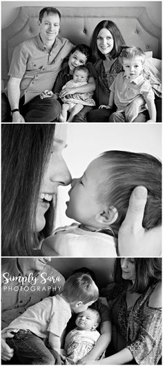 Family Photo Ideas & Poses - Parents, Kids & Baby Snuggling on a Bed - Billings, MT Family & Portrait Photographer