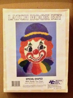 CLOWN Latch Hook Kit ~ Smilie the Clown Special Shaped RARE VINTAGE SEALED #NationalYarnCrafts
