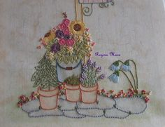 My English Country Garden Quilt - Hand embroidery with watercolour painting - block 12 - flower detail