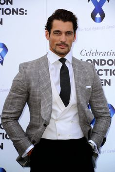 David Gandy, attending the One For The Boys charity ball on Day One of London Collections: Men SS '15. Wearing a three piece dinner suit from Marks and Spencer Best of British Collection. June 15, 2014