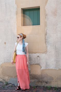 Accidental gypsy--coral maxi skirt outfit w/ head scarf
