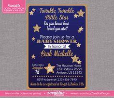 Twinkle Twinkle Baby Sprinkle Invitations Pink Turquoise D350
