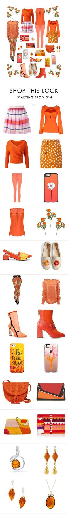 """""""Orange is ..."""" by alexxa-b-charles ❤ liked on Polyvore featuring Daizy Shely, Blumarine, Dorothy Perkins, J Brand, Casetify, Soludos, Marissa Webb, Boutique Moschino, Shiraleah and âme moi"""