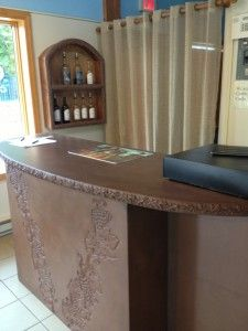 Custom Concrete Bar Greets Tasters at Maryland Winery Concrete Bar, Concrete Countertops, Wood Display, Display Case, Italian Restaurant Decor, Tidy Up, Grape Vines, Man Cave, Entryway Tables
