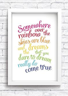 Somewhere Over The Rainbow Framed Print Keepsake. New Home Print. New Baby Print. Girls Bedroom Sets, Baby Bedroom, Kids Bedroom, Bedroom Ideas, Preteen Girls Rooms, Bedroom Decor, Childrens Bedroom, Bedroom Signs, Room Baby