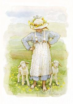 Spring Lambs by Holly Hobbie Holly Hobbie, Retro Kids, Vintage Illustration, Spring Lambs, Hobbies To Try, Hobby Room, Hobby Lobby, Dibujos Cute, Hobby Horse