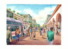 alex ottich architectural renderings and watercolor illustrations - Street views