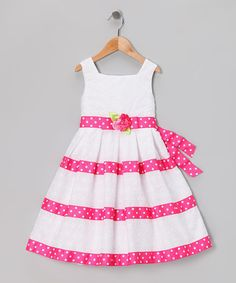 Take a look at this White & Pink Eyelet Dress - Toddler & Girls by Sweet Heart Rose on #zulily today!