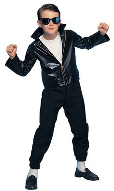 Kids Costumes - This child Greaser Costume comes with cool shades, leather-look black costume jacket, and the black pants. White undershirt not included. PLEASE NOTE: THIS COSTUME RUNS SMALL. Greaser Costume, 50s Greaser, Greaser Outfit, Star Costume, Rock Costume, Costume Craze, Teen Beach Movie Costumes, Kids Costumes Boys, 1950s