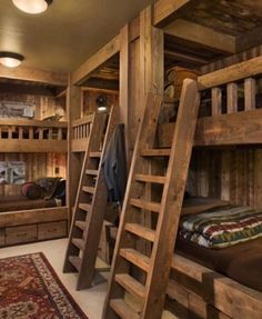 Stunning 49 Beautiful Home Interior Cabin Style Design Ideas. Log Cabin Bedrooms, Cabin Bunk Beds, Bunk Beds Built In, Cool Bunk Beds, Log Cabin Homes, Log Cabins, Lodge Bedroom, Cabin Loft, Rustic Bedrooms