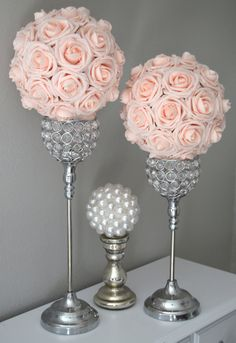 PINK BLUSH elegant flower ball made of premium Real Touch soft roses. These premium roses have a crisp fresh cut flower look that hold shape and color over time. You will be amazed at how real and stunning the roses look in the daylight or under your venue lighting. A colored ribbon to