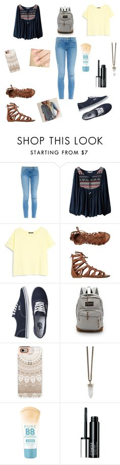 """first day of school"" by rachelmwebb-1 ❤ liked on Polyvore featuring Frame Denim, MANGO, O'Neill, Vans, JanSport, Casetify, Givenchy, Maybelline and Clinique"