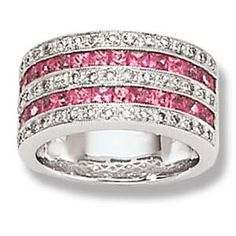 Wide Anniversary Bands for Women | White Gold Diamond Band with Invisible Set Pink Sapphires