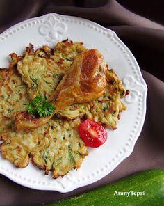 AranyTepsi: Cukkinis csicsókalepénykék Hungarian Recipes, Hungarian Food, Cauliflower, Vegan Recipes, Dishes, Chicken, Meat, Vegetables, Plate