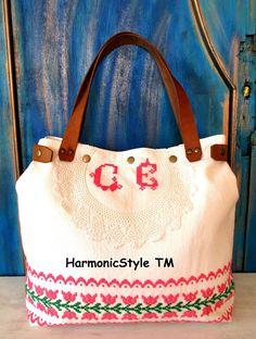 16-V. upcycled hand embroidered bag/linen bag/upcycled antique embroidery/linen shoulder bag/hand embroidery bag/reused embroidery/handbag