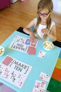 Easy Math Games, Math Card Games, Kindergarten Math Games, Card Games For Kids, Math For Kids, Math Classroom, Fun Math, Teaching Math, Math 2