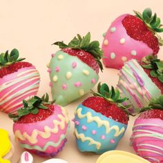 Chocolate covered strawberries for Easter! Dip into chocolate and then decorate the dipped strawberries with Candy Writers! Get some fruit with your chocolate for Easter!