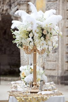 Stunning Non-Floral Wedding Centerpieces Ideas ❤︎ Wedding planning ideas & inspiration. Wedding dresses, decor, and lots more. Gatsby Theme, Great Gatsby Wedding, 1920s Wedding Decor, Gatsby Wedding Decorations, Quinceanera Decorations, Gatsby Party, Wedding Dj, Gold Wedding, Feather Centerpieces