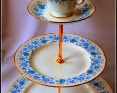 Cambridge best kept Victorian tea ceremony accessories by PoshandSeductive 3 Tier Cake, Tiered Cakes, Patterned Cake, Dining Ware, English Pottery, Cream Tea, Willow Pattern, Fun Cup, Blue Plates