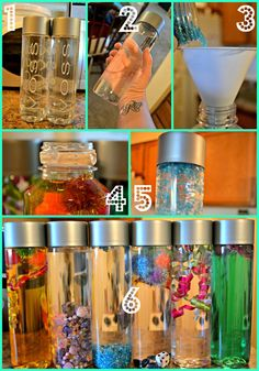 Fun discovery bottles- DIY using clear plastic bottle filled with fun odds and ends and water. Use a strong adhesive to seal, and done! Sensory Table, Baby Sensory, Sensory Toys, Sensory Activities, Infant Activities, Activities For Kids, Autism Sensory, Preschool Projects, Preschool Science
