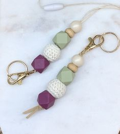 Keychain or lanyard, made with crochet, wood and silicon! Perfect gift for anyone! Handmade Rings, Handmade Flowers, Handmade Bracelets, Earrings Handmade, Handmade Jewelry, Unique Jewelry, Teacher Appreciation Gifts, Teacher Gifts, Etsy Christmas