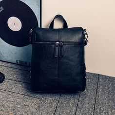 Simple Style Backpack Women PU leather Shoulder Bag