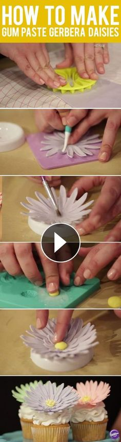 How to Make Gum Paste Gerbera Daisies - Gum paste gerbera daisies make a lovely accent to cakes and cupcakes! Here's a quick tutorial on how simple it is to create them.