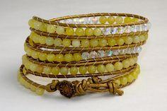 Chan Luu Inspired Light Yellow & AB Crystal 5 Row by EleganceMade