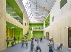 "Projekt ""Kindertagesstätte Völklingen""...competitionline atrium, wood walls, center stair, kids:"