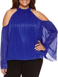 82b42b55c3d WORTHINGTON Worthington Cold Shoulder Pleated Blouse - Plus Trendy Plus Size